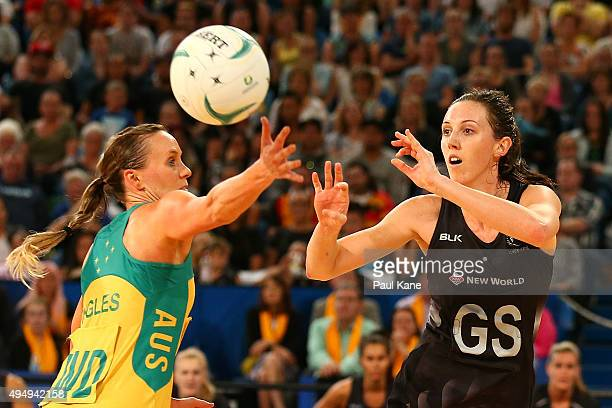 Bailey Mes of New Zealand passes the ball during the International Test Match between the Australian Diamonds and the New Zealand Silver Ferns at...