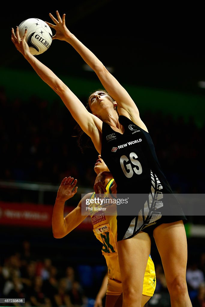 Bailey Mes of New Zealand takes a pass during the International Test match between the New Zealand Silver Ferns and the Australian Diamonds at Trusts...
