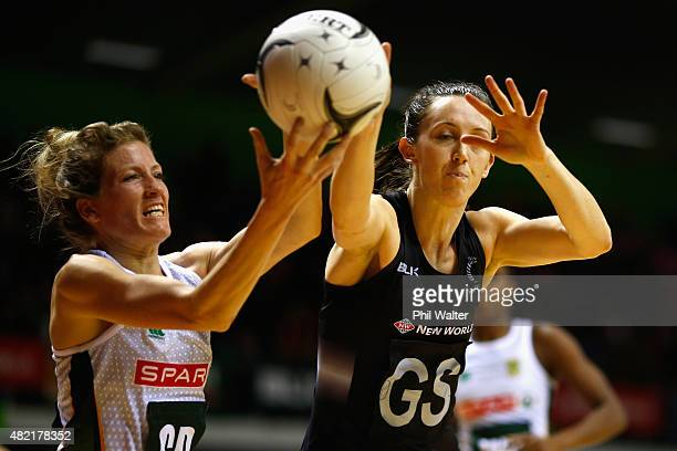 Bailey Mes of the Silver Ferns and Karla Mostert of the Proteas contest the ball during the International Test Match between the New Zealand Silver...
