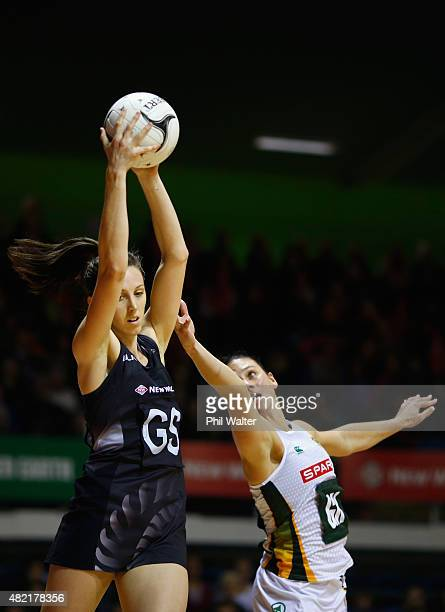 Bailey Mes of the Silver Ferns is put under pressure from Adele Niemand of the Proteas during the International Test Match between the New Zealand...