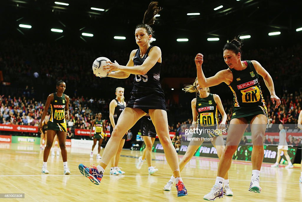 Bailey Mes of the Silver Ferns secures the ball during the international Test match between the New Zealand Silver Ferns and the South Africa Proteas...