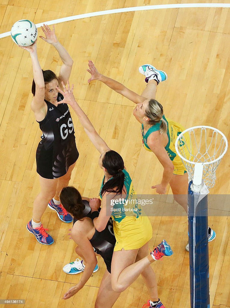 Bailey Mes of the Silver Ferns shoots a goal during the International Test match between the Australia Diamonds and the New Zealand Silver Ferns at...