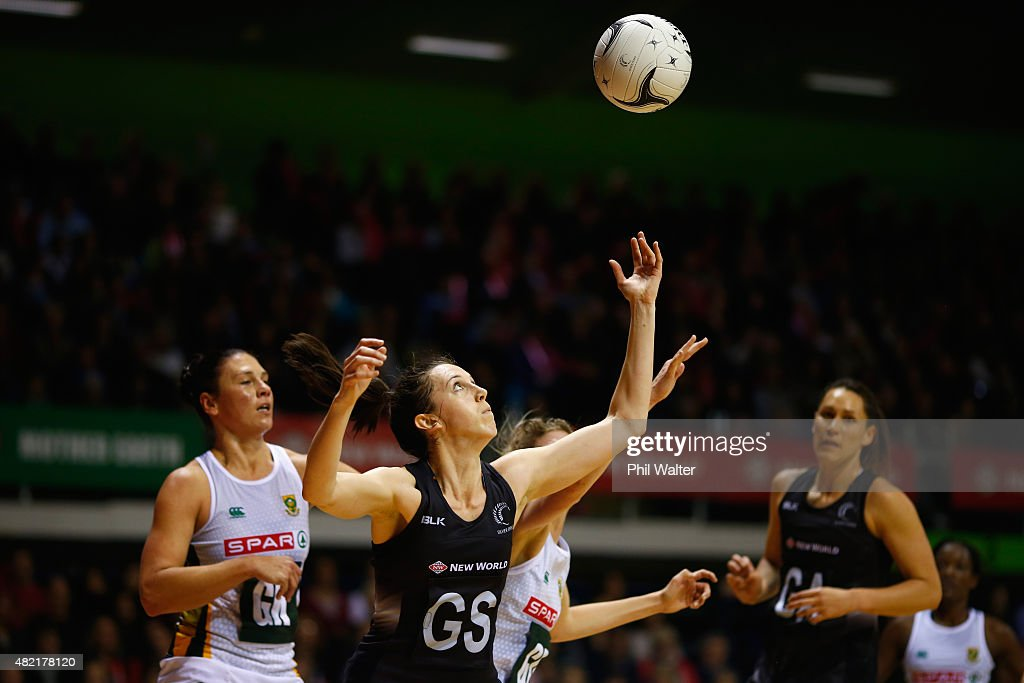 Bailey Mes of the Silver Ferns takes a pass during the International Test Match between the New Zealand Silver Ferns and the South Africa Proteas at...