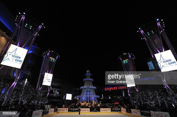 Bailey of the Los Angeles Kings helps kick off the opening of the Holiday Ice rink at Nokia Plaza LA Live prior to the game between the Los Angeles...
