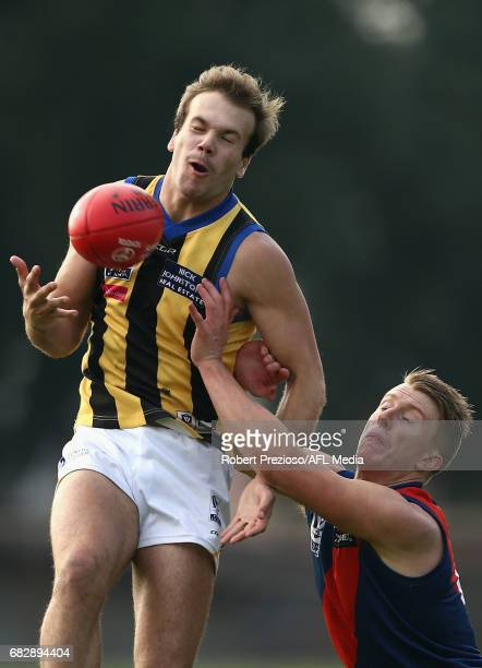 Bailey Rice of Sandringham attempts a mark during the round five VFL match between Coburg and Sandringham at Pirhana Park on May 14 2017 in Melbourne...