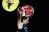 Bailey Rodgers of New Zealand competes during the Women's 75kg Weightlifting Finals at Scottish Exhibition And Conference Centre during day six of...