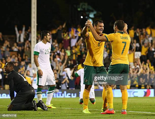 Bailey Wright of Australia celebrates scoring the 3rd goal during the International Friendly match between Saudi Arabia v Australia at Craven Cottage...