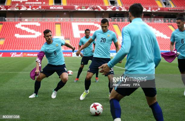 Bailey Wright of Australia tackles Trent Sainsbury during a training session at the Spartak Stadium during the FIFA Confederations Cup Russia 2017 on...