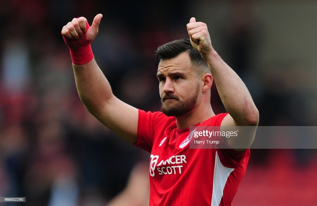 Bailey Wright of Bristol City celebrates at the final whistle during the Sky Bet Championship match between Bristol City and Queens Park Rangers at Ashton Gate on April 14, 2017 in Bristol, England.
