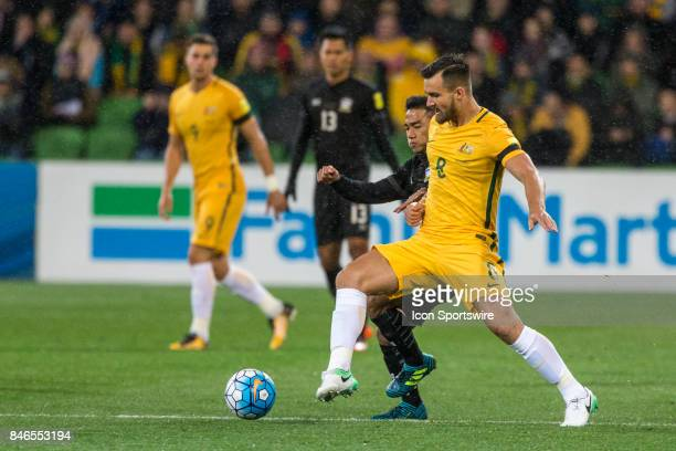 Bailey Wright of the Australian National Football Team and Chanathip Songkrasin of the Thailand National Football Team contest the ball during the...