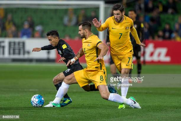 Bailey Wright of the Australian National Football Team Mathew Leckie of the Australian National Football Team and Chanathip Songkrasin of the...