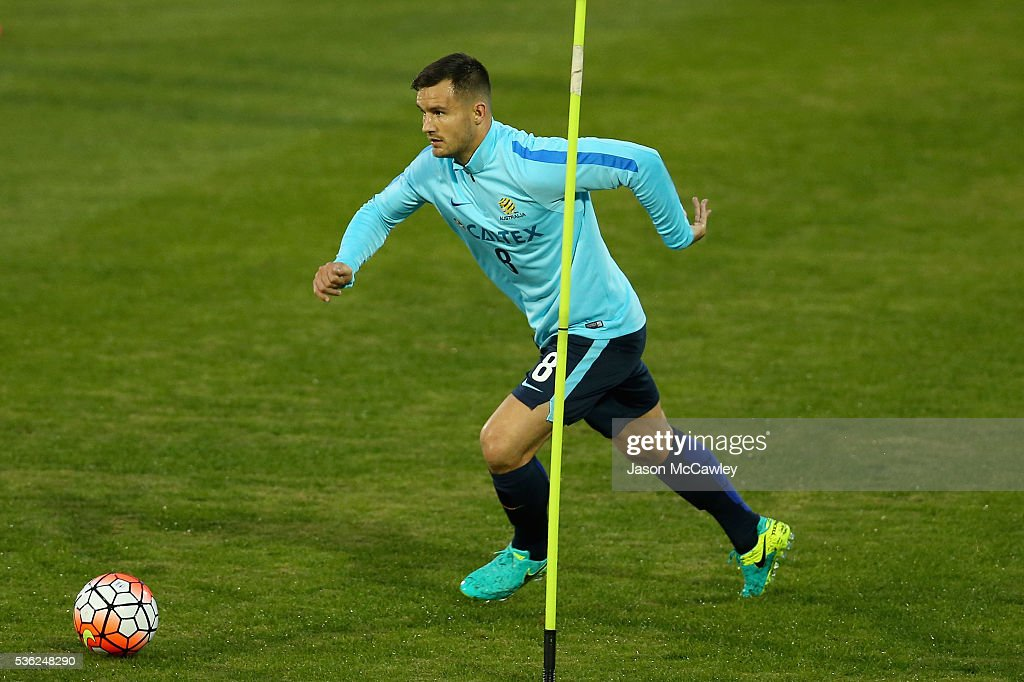 Bailey Wright of the Socceroos controls the ball during an Australian Socceroos training session at Leichhardt Oval on June 1, 2016 in Sydney, Australia.