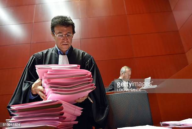 A bailiff holds the files of the 19 opponents of the controversial project for the creation of the international airport of NotreDamedesLandes on...