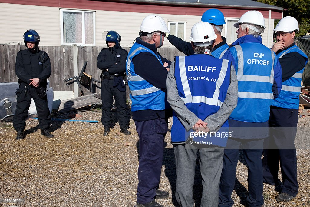 Bailiffs discuss tactics at Dale Farm site prior to eviction Riot police and bailiffs were present on 20th October 2011 as the site was cleared of...