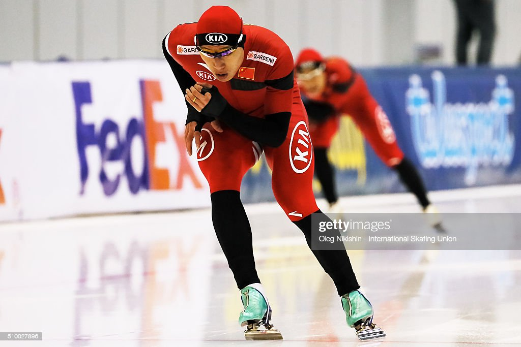 Bailin Li of China compete in the Men 1500 meters race during day 3 of the ISU World Single Distances Speed Skating Championships held at Speed Skating Centre Kolomna Ice Arena on February 13, 2016 in Kolomna, Russia.