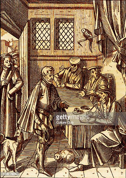Bailliage or tribunal of the King 's bailiff 1557 Facsimile of an engraving on wood in the work of Josse Damhoudere 'Praxis Rerum Civilium' Antwerp...
