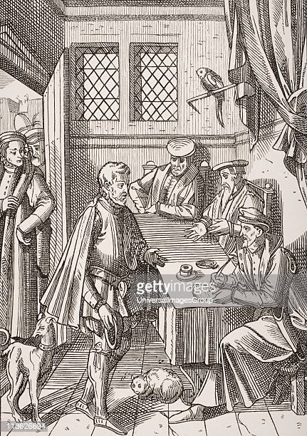 Bailliage or Tribunal of the King´s Bailiff Facsimile of wood engraving in Praxis Rerum Civilium by Josse Damhoudere Antwerp 1557