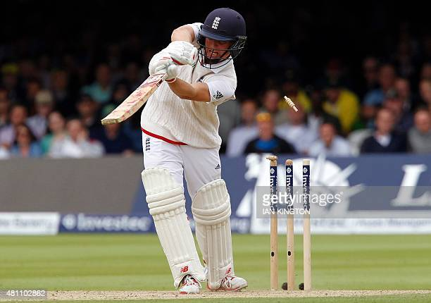 Bails fly as Englands Gary Ballance is bowled out by Australias Mitchell Johnson for 23 runs during play on the second day of the second Ashes...