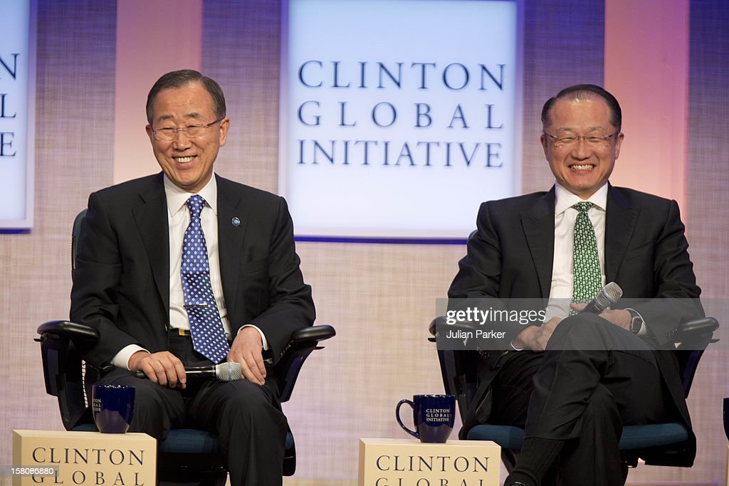 Bain Ki-Moon Secretary-General Of The United Nations And (Right) Jim Yong Kim President Of World Bank Group Attending The Opening Session Of The Clinton Global Initiative 'Designing For Impact ' At The Sheraton Hotel And Towers In New York, Usa.
