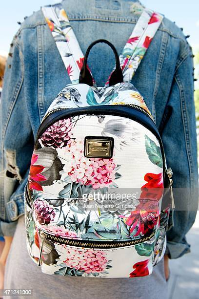 Baira wears Converse trainers Pull Bear Tshirt and jacket Rayban glases and back pack D'Dona during the 18th Malaga Spanish Film Festival on April 25...