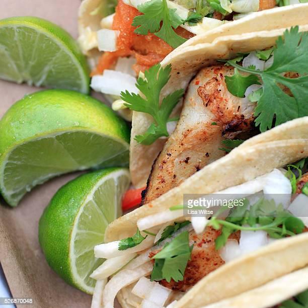 baja fish tacos Spicy tempurabattered cod w/ chipotle slaw
