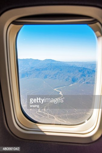Baja , Mexico, view from window at about 30,000 feet : Stock Photo