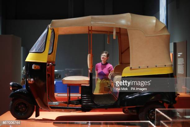 A Bajaj autorickshaw a hybrid of a modern electric scooter and cycle rickshaws on display at the Science Museum's Illuminating India exhibitions at...