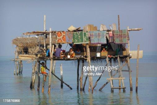 Bajau floating village on reef in The Celebes Sea