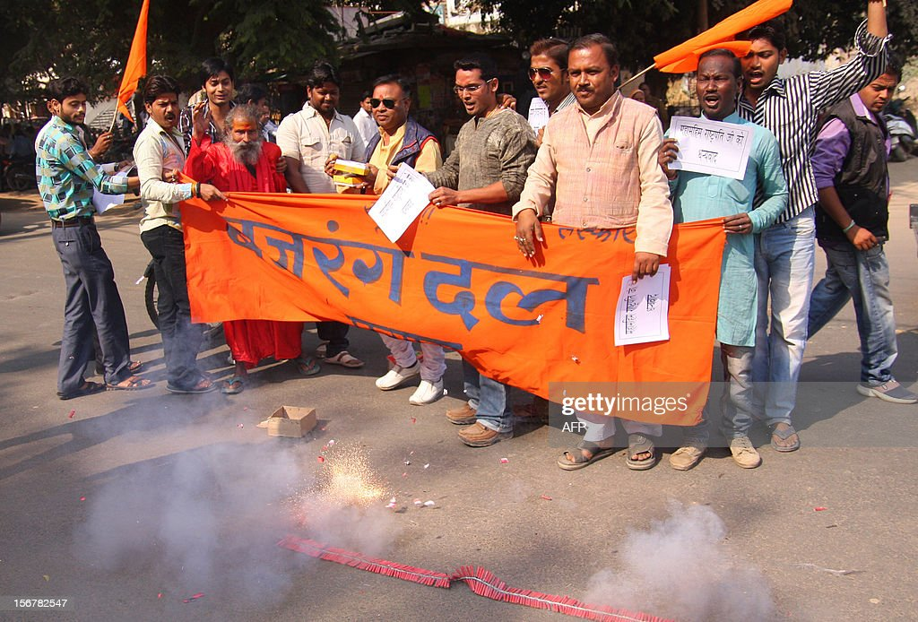 Bajrang Dal activists set off firecrackers as they celebrate the execution of Pakistanborn Mohammed Kasab the sole surviving gunman of the 2008...