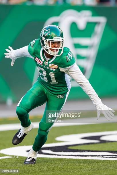 Bakari Grant of the Saskatchewan Roughriders celebrates after scoring a touchdown in the game between the BC Lions and the Saskatchewan Roughriders...