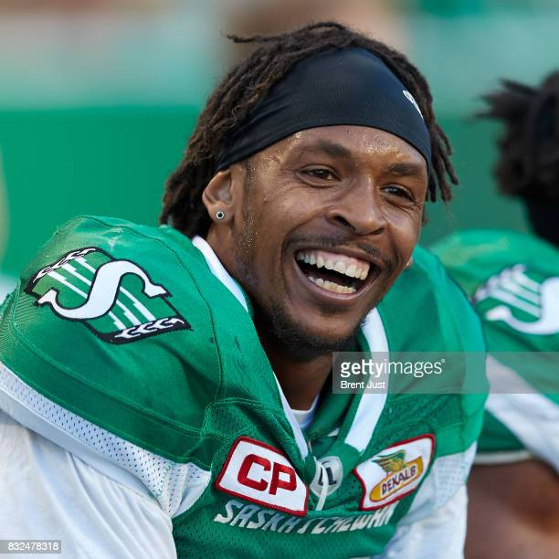 Bakari Grant of the Saskatchewan Roughriders on the sideline during the game between the BC Lions and the Saskatchewan Roughriders at Mosaic Stadium...