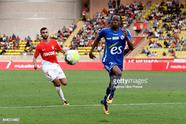 Bakary Kone of Strasbourg and Rachid Ghezzal of Monaco during the Ligue 1 match between AS Monaco and Strasbourg at Stade Louis II on September 16...