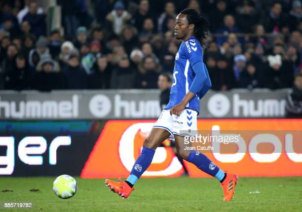 Bakary Kone of Strasbourg during the French Ligue 1 match between RC Strasbourg Alsace and Paris Saint Germain at Stade de la Meinau on December 2...