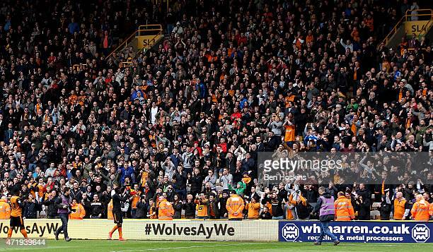Bakary Sako applauds the home fans following the Sky Bet Championship match between Wolverhampton Wanderers and Millwall at Molineux on May 2 2015 in...