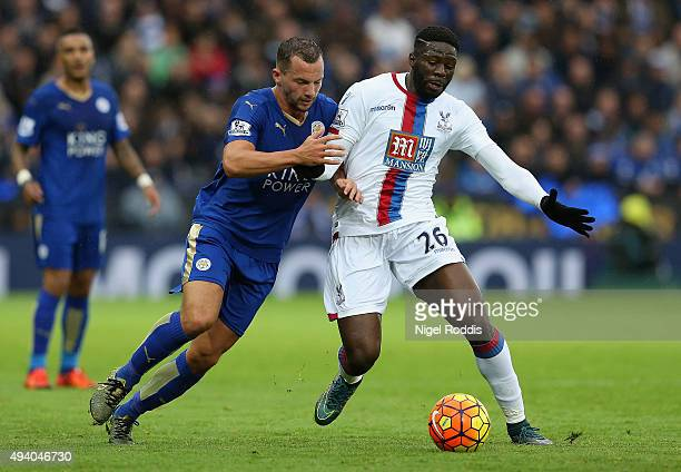 Bakary Sako of Crystal Palace and Danny Drinkwater of Leicester City compete for the ball during the Barclays Premier League match between Leicester...