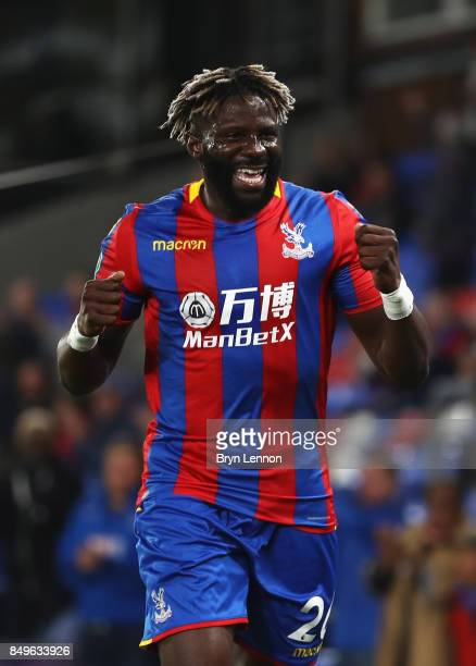 Bakary Sako of Crystal Palace celebrates scoring his sides first goal during the Carabao Cup Third Round match between Crystal Palace and...