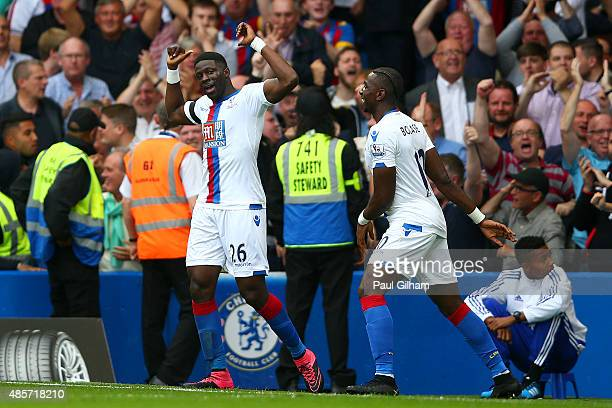 Bakary Sako of Crystal Palace celebrates scoring his team's first goal with his team mate Yannick Bolasie during the Barclays Premier League match...