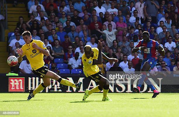 Bakary Sako of Crystal Palace scores his team's second goal during the Barclays Premier League match between Crystal Palace and Aston Villa at...