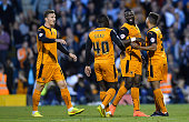 Bakary Sako of Wolverhampton Wanderers celebrates scoring the first goal during the Sky Bet Championship match between Fulham and Wolverhampton...