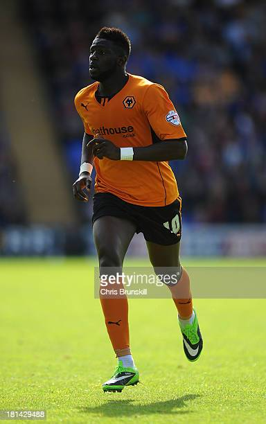 Bakary Sako of Wolverhampton Wanderers in action during the Sky Bet League One match between Shrewsbury Town and Wolverhampton Wanderers at Greenhous...