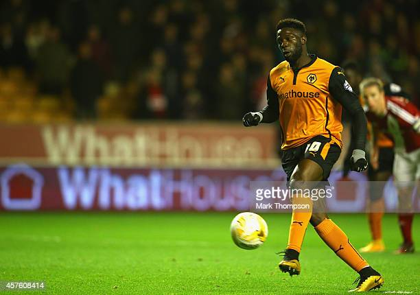 Bakary Sako of Wolverhampton Wanderers scores his penalty during the Sky Bet Championship match between Wolverhampton Wanderers and Middlesbrough at...