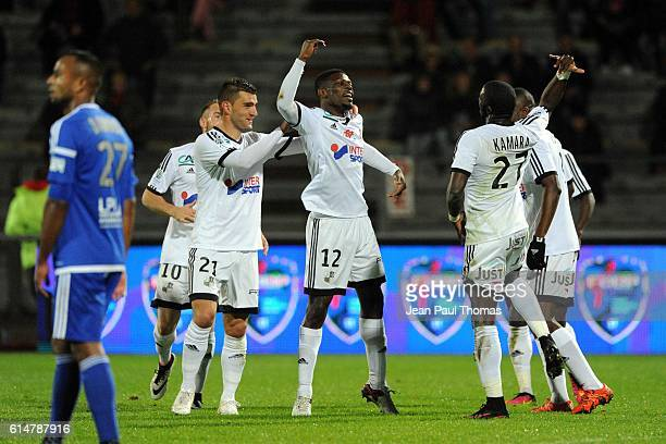 Bakaye DIBASSY of Amiens celebrates scoring his goal during the Ligue 2 match between Bourg en Bresse and Amiens SC at Stade MarcelVerchere on...