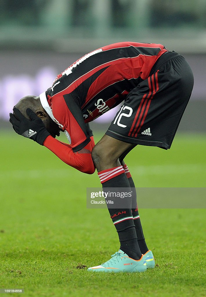 Bakaye Traore of AC Milan looks dejected after the TIM cup match between Juventus FC and AC Milan at Juventus Arena on January 9, 2013 in Turin, Italy.