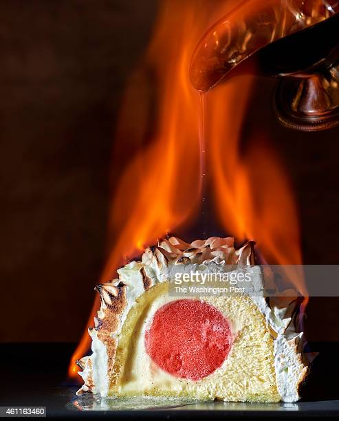 Baked Alaska flambé photographed at Mintwood Place in Washington DC