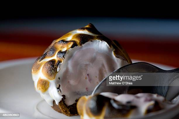 Baked Alaska with chocolate cake and Strawberry ic