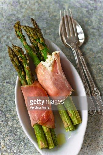 Baked asparagus : Stock Photo