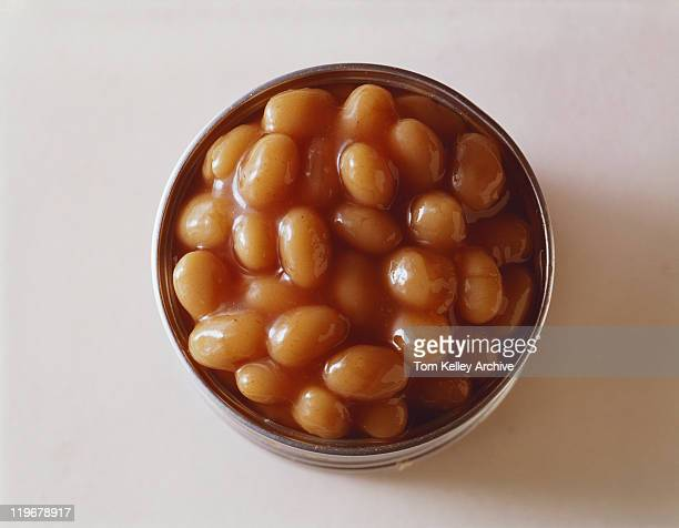 Baked beans in tin, close-up