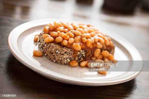 Baked beans on mixed seed brown toast