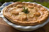 Baked Beef Meat & Chicken Pot Pie, Leftovers Dinner Meal