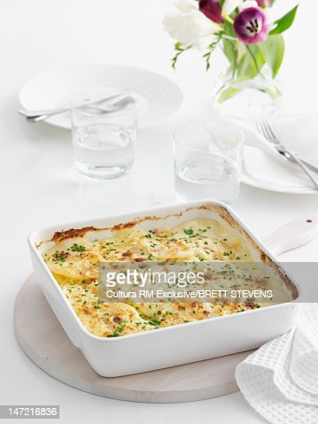 Baked casserole dish on table